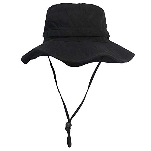 Phaiy Bucket Hat Wide Brim UV Protection Sun Hat Boonie Hats Fishing Hiking Safari Outdoor Hats for Men and Women Black