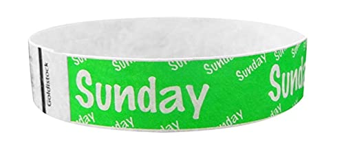 """Heavier Tyvek Wristbands 7.5 Mil - Goldistock Sunday 500 Count (Neon Green)- Days of The Week ¾"""" Arm Bands- Paper-Like Party Armbands - Heavier Tyvek Wrist Bands = Superior Events"""