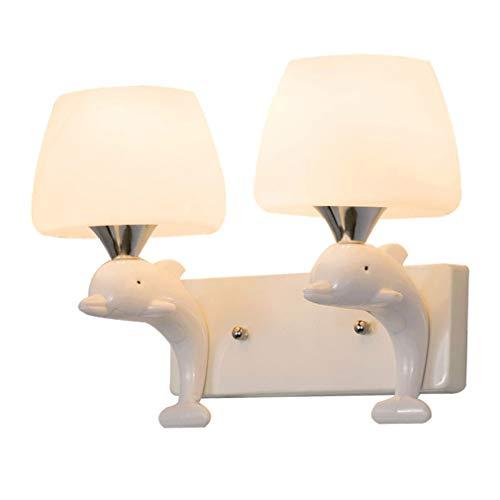 WJPL Creatieve wandlamp met lampenkap van glas en hars, moderne wandlamp, moderne verlichting voor woonkamer, slaapkamer, werkkamer, wandverlichting, 85 - 265 V, E27 * 2