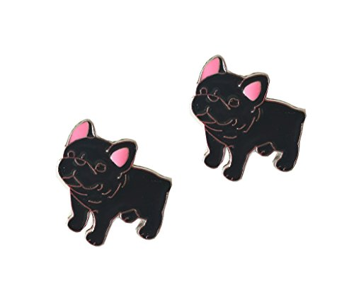 Lovely Pug Dog Brooch Pet Brooch Corsage Metal Pin Badge Dog ID Tags Christmas Birthday Gift 2PCS (French Bulldog Black)