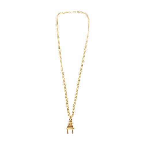 Hip Hop Jewelry Gold Ton Power Plug Anhänger Halskette Pferdepeitsche lange Kette, gold, GD