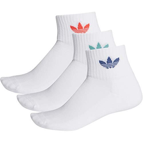 adidas Mid Ankle Socks 3-Pack White White Red 40-42