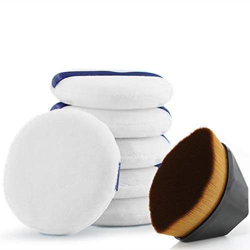 Powder Puff for Face Powder/Body Powder/Loose Powder/Dusting Powder, with a Flat Flawless Foundation brush, Makeup Pad Sponge, Pack of 6