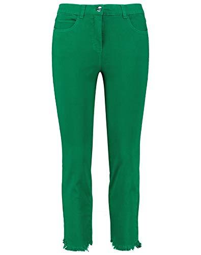 Samoon Damen 7/8 Jeans Betty Mit Fransenkanten Körpernahe Passform Basil Green 50