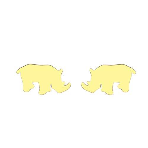 Empty Gold Rhino Ohrstecker in Edelstahl Kinder Ohrringe Zehenschmuck Geschenk Mädchen Roségold Tier Ohrringe Geburtstagsgeschenk-Gold