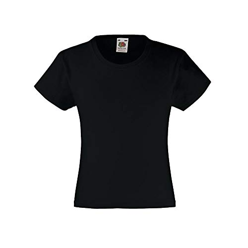 Fruit of the Loom - Camiseta de manga corta Valueweight para niñas Negro Negro ( 116 cm