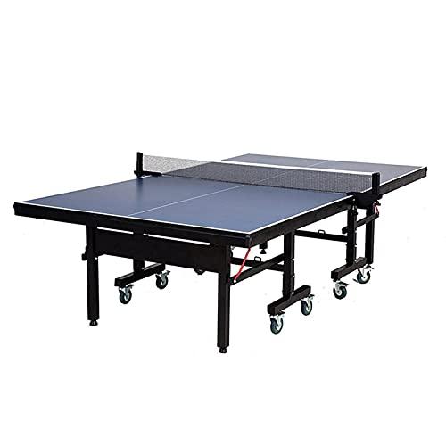 MYRCLMY Mesa De Ping Pong, Mesa De Tenis De Mesa Interior MDF Profesional con Pinza Rápida Ping Pong Net Y Post Set - Plegable, 10 Minutos Ensamblaje Fácil