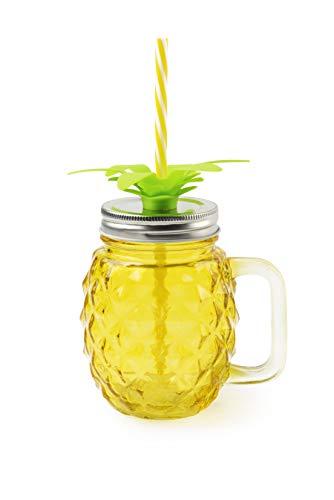 Excelsa Tropical Bicchiere/Mug con Cannuccia, Vetro