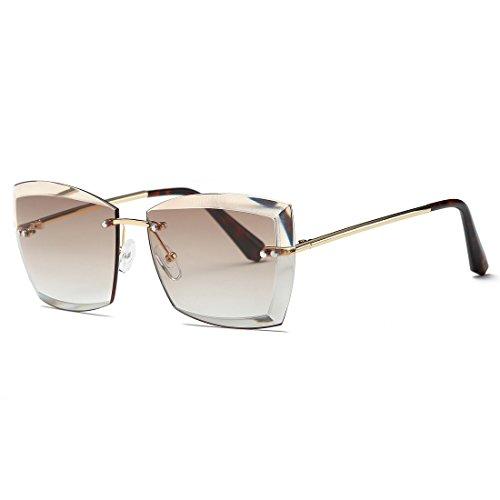 AEVOGUE Sunglasses For Women Oversized Rimless Diamond Cutting Square Glasses AE0528 (Gold&Brown, 53)