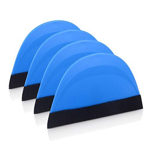 Winjun 4 Stück Rakel mit Filzkante Folienrakel Filzrakel Weiche Material für Folie Autofolie Tönungsfolie Wandtattoo Fliesenaufkleber Installation Werkzeug, 13x8cm, Blau …