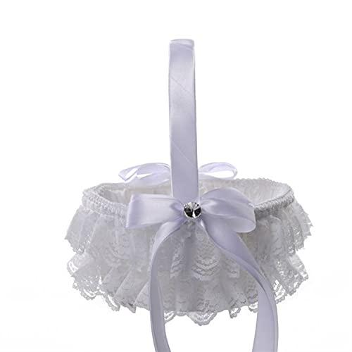 Estilo destacado Fiesta festiva Decoración de la boda Mano-tejido de ratán de encaje tejido suministros de boda de la flor de la boda Cesta de la flor de la flor del pétalo Cesta de la fruta Cesta de