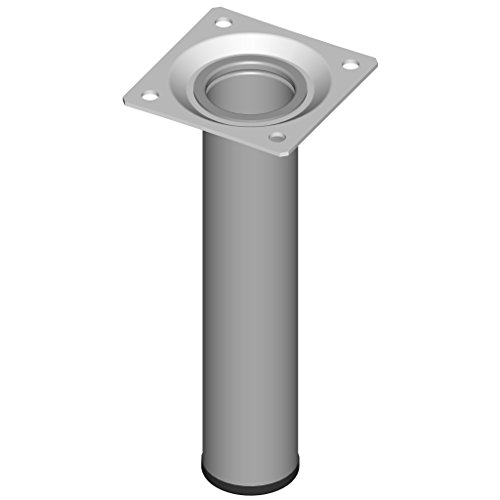 Element System 4 Stück Stahlrohrfüße rund, Tischbeine, Möbelfüße inklusive Anschraubplatte, Länge 15 cm, Durchmesser 30 mm, 4 Farben, 11 Abmessungen, weißaluminium, 11100-00014