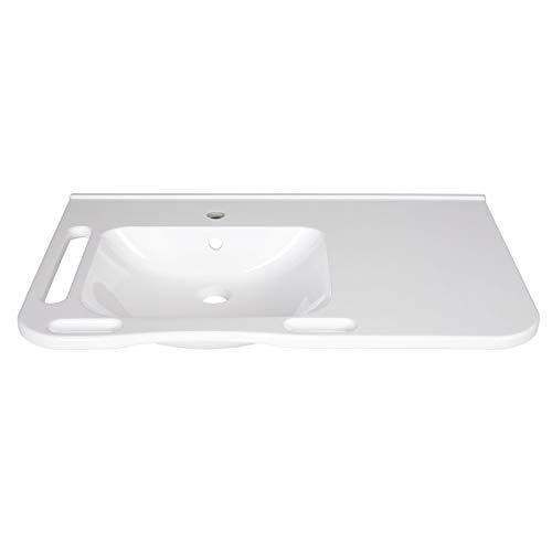 KIBOMED GTM-802 Waschbecken links weiß mit Überlauf-Schutz ohne Armatur | 845x555 mm | frontale Haltegriffe + seitlichen Handtuchhalter | seniorengerecht | Rollstuhl unterfahrbar