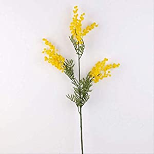 hhxiao Dried Flower 86cm 3 Forks Artificial Acacia Yellow Mimosa Plush Spray Cherry Fake Silk Flower Wedding Party Decor
