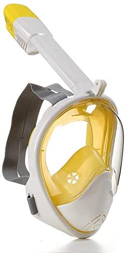 Mascara Buceo Mascarilla de Buceo Buceo Anti-Niebla Gafas de natación Equipo de Snorkel de Secado Completo 180 ° Campo de visión (Color : Yellow and White, Size : L/XL)