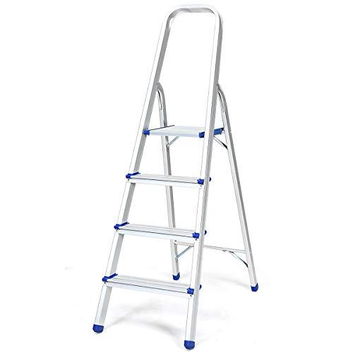 DREAMADE Trittleiter aus Aluminium, Leiter Stehleiter Rutschfest, Stufenleiter klappbar, Ausziehleiter Mehrzweckleiter stabil für innen und draußen (4 Stufen)
