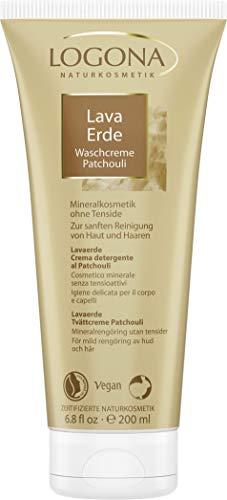 LOGONA Naturkosmetik Lavaerde Waschcreme Patchouli, Für Haut & Haar, Tonerde speziell für unreine Haut & schuppige Kopfhaut, 200ml