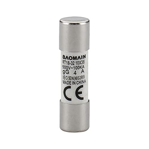 Baomain Fuse Link RT18-32 (RO15 RT14 RT19) 4A Cylindrical Ceramic Tube 10x38mm 500V CE listed 5 Pack
