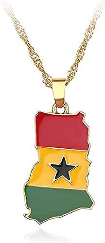 Liuqingzhou Co.,ltd Collar Collar Mapa Bandera Collar África Guinea Ghana Liberia Submarino Jamaica Sudáfrica Sudáfrica Honduras Colgante Collar Hombres Joyería Regalos Niñas Niños Collar