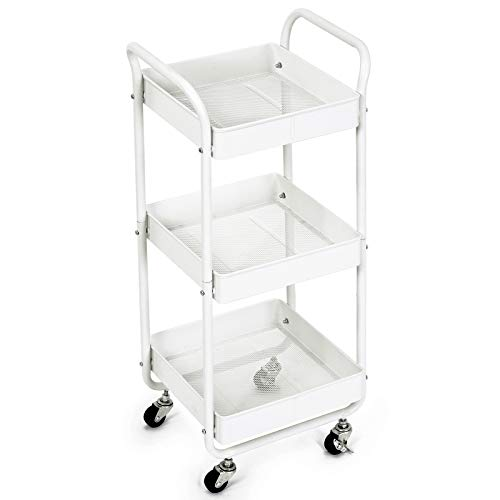 3-Tier Metal Utility Rolling Cart, Bathroom Supply Carts with Handles and Roller Wheels, Trolley Organizer for Kitchen Home Bedroom Office, White