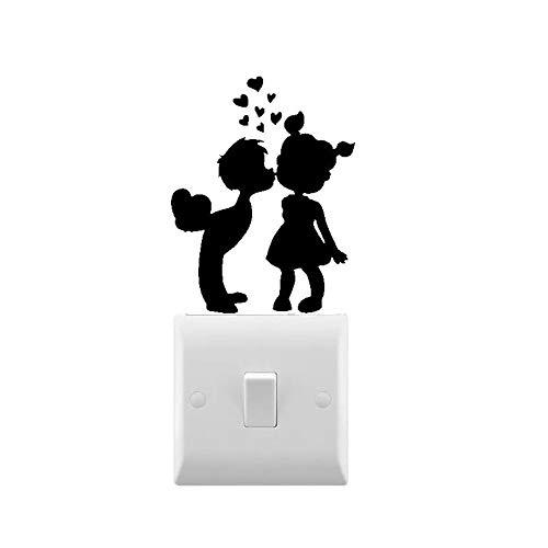 Novedad niño y niña beso calcomanía de pared pequeño interruptor de luz pegatina de vinilo extraíble arte interior de la casa decoración de luz calcomanía 10X8cm