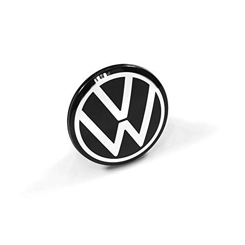 Volkswagen 5H0601171FOD cache-moyeu pièce de rechange (1 pièce) cache-moyeu cache-moyeu cache-roue en alliage noir/chrome 65mm