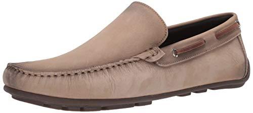 Driver Club USA Herren Made in Brazil Luxus Leder venezianischer Loafer Driving Style, Weiá (Nubukleder Creme), 40 EU