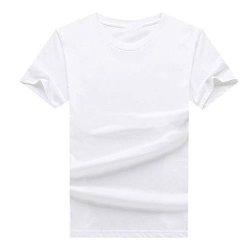 N\P Camiseta delgada de cuello redondo para hombre de manga corta holgada camiseta de hombre - blanco - Large