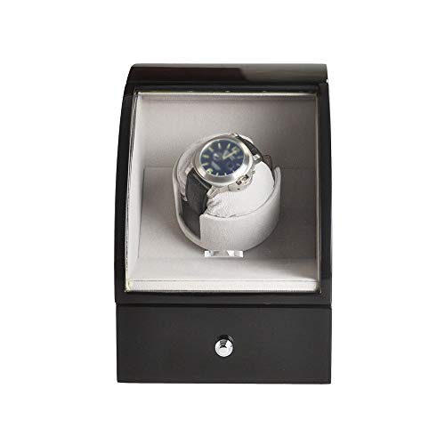 Jlxl Enrollador Automático Reloj Simple, 15 Configuración Modo Rotación, Concha Madera Pintura Alto Brillo con Cajón, Motor Extremadamente Silencioso, Negro Accesorios (Color : Black White)