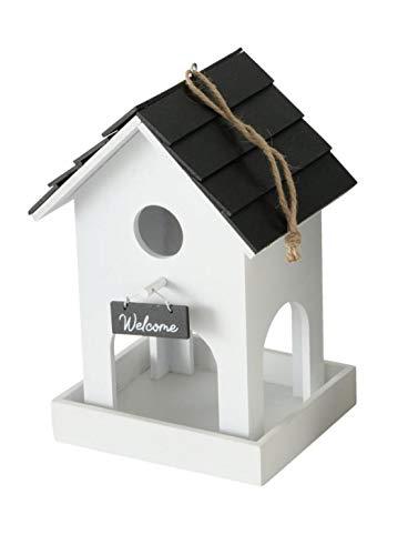 CasaJame Holz Vogelhaus für Balkon und Garten, Futterstation, Haus für Vögel, Vogelhäuschen, Futterhaus weiß mit schwarzem Dach 15x12x22cm
