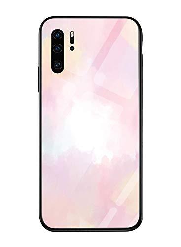 Oihxse Mode Coloré Dégradé Case Compatible pour Huawei P10 Plus Coque Revêtement Arrière en 9H Verre Trempé Protection Housse Mignon Silicone Bord Bumper Anti Rayures Etui