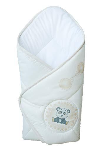 BlueberryShop - Manta de algodón para bebé (74 x 72 cm), diseño de saco de dormir para recién nacidos crema Panda Talla:74 x 72 cm