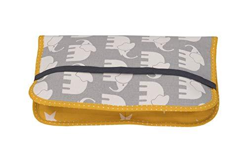 ULLENBOOM ® Windeltasche für unterwegs Elefant Gelb (Made in EU) - Wickeltasche für bis zu 3 Windeln, Feuchttücher & weiteres Zubehör, Windeletui mit Reißverschluss & Gummiband, klein & lässig