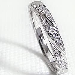 [ジュエリーアイ]Jewelry i 指輪 10金 ダイヤモンドリング ホワイトゴールドK10 デザイン ピンキーリング ギフト 14号
