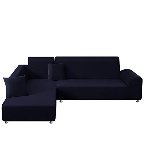 TAOCOCO Copridivano con Penisola Elasticizzato Chaise Longue Sofa Cover Componibile in Poliestere a Forma di L(Blu Scuro, 3 Posti+4 Posti)