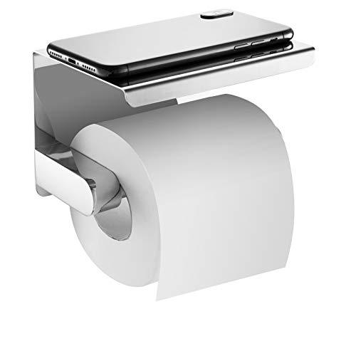 hblife Porte-Papier Toilette Mural avec Etagère de Porte Rouleau Papier Toilette Mural en Acier Inox Brossé Pour Salle de Bain WC avec Plateforme de rangement