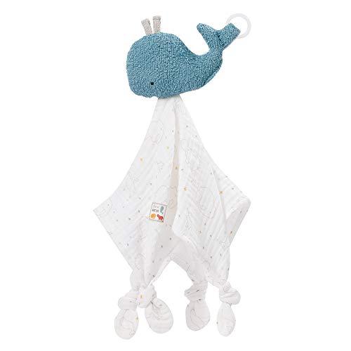 Fehn 056068 Schmusetuch Wal fehnNATUR – Stofftier-Schnuffeltuch aus zertifizierter Bio-Baumwolle (kbA) mit Schnuller-Befestigung für Babys & Kleinkinder ab 0+ Monaten