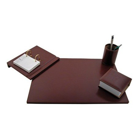 Q-Connect 943648 bureau-set, 4-delig, kunstleer, bureau-onderlegger, muziekstandaard, kalender, pennenkoker, 45,2 x 32,9 x 1 cm, bruin