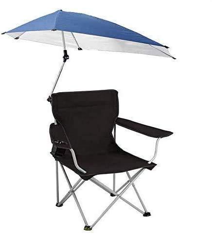 KIKILIVE - Ombrellone da giardino, sedia pieghevole, pieghevole, pieghevole, portatile, con ombrello rimovibile, per campeggio all'aperto, sedia da pesca (nero scuro)