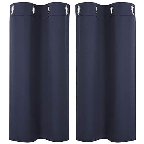 PiccoCasa 2 Stück Gardine für Küche, Polyester Scheibengardine Kurzgardine, Blickdicht Kleine Gardine Navy Blau 90H x 74B cm