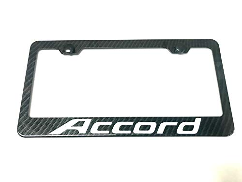 Lavnox Carbon Fiber Metal Accord License Plate Frame Tag Cover Holder Mount for Honda Accord (1)