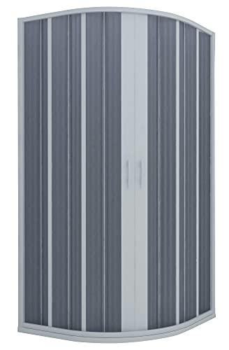 Box Doccia Semicircolare 90x90 cm 2 Ante a Soffietto in PVC Apertura Centrale H185 cm Dorini Bianco