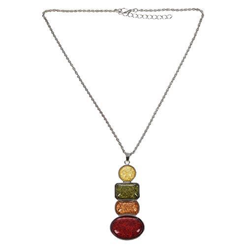 Conjunto de Collar y Pendientes con Colgante, bañado en Plata, Juego de joyería de Fiesta de ámbar