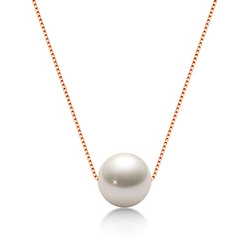 Pearl Necklace for Women Simple Single Floating Pearl Pendant Freshwater Cultured Pearl Necklaces with Silver Chain Gifts for Mothers Day Girls 8mm White Pearl