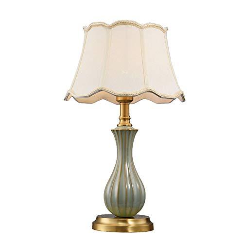 DSELP Nachttischlampe, Tischlampe Nachtlicht für Schlafzimmer Stoff Schreibtischlampe Metallbasis Minimalist Moderne Warm Nachttisch-Leuchte Kaffeetisch and Büro (4w E27 LED Birne Enthalten)