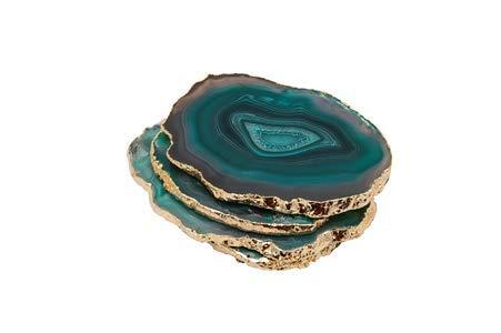 Decor Curios - Posavasos (4 unidades), diseño de ágata y cristal verde esmeralda