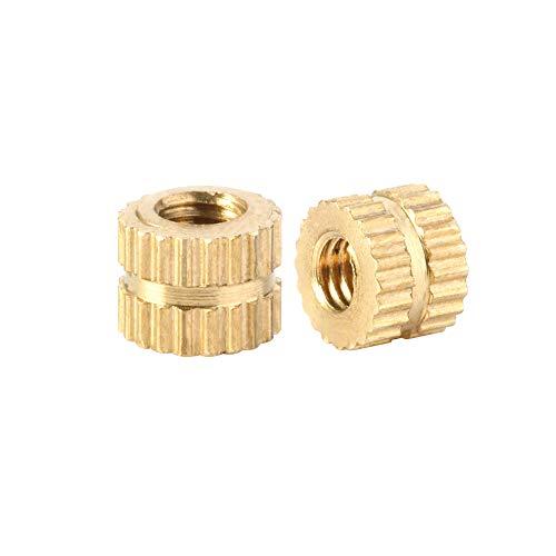 Knurled Insert Nuts, M3 x 4mm(L) x 5.3mm(OD) Female Thread Brass Embedment Assortment Kit, Quantity 50