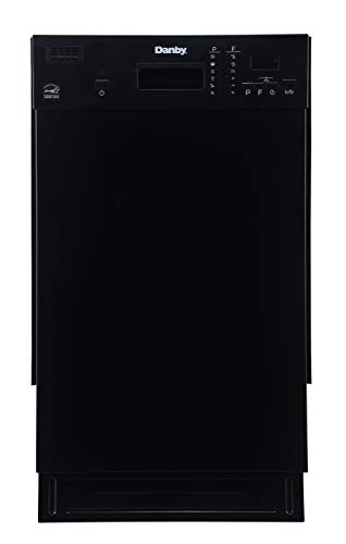 Danby 18 Inch Built in Dishwasher, 8 Place Settings, 6 Wash Cycles and 4 Temperature + Sanitize Option, Energy Star Rated with Low Water Consumption and Quiet Operation - Black (DDW1804EB)