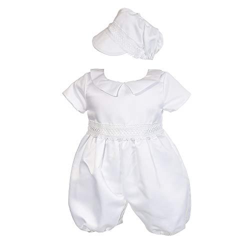 Cinda Mameluco de Bautizo de satén Blanco para niños sin Zapatos 9-12 Meses