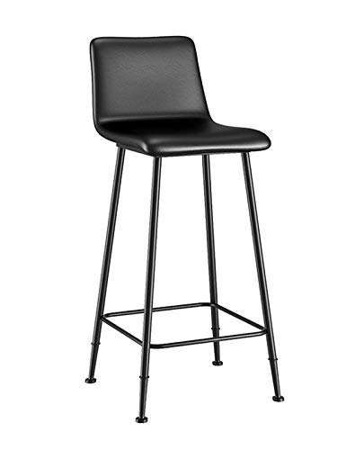 Kitchen Bar Stools, Ergonomic Leather Casual Dining Chairs with Metal Footrest and Base Breakfast Bar Stool for Counter Pub Cafes